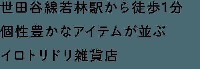 世田谷線若林駅から徒歩1分 個性豊かなアイテムが並ぶイロトリドリ雑貨店
